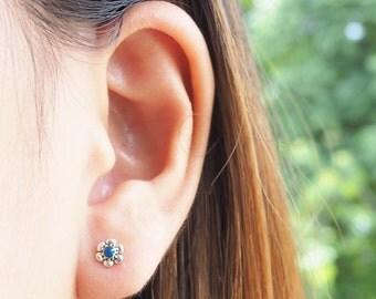 Vintage Blue Flower Post Stud Earrings, 925 Sterling Silver, Boho Jewelry - MI.21/ST137
