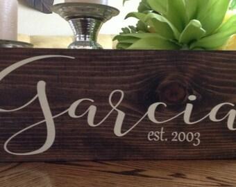 Wedding Name Sign, Last Name Sign, Last Name Established Sign, Established Sign, Anniversary, Housewarming Gift