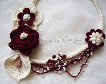 Crochet necklace, Flower crochet necklace, Beaded necklace, Crochet calla lily, Statement jewelry, Burgundy necklace, White crochet, flower