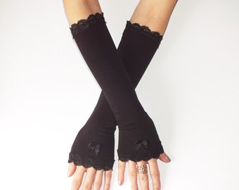 Black long gloves, long lace gloves, black gloves, Black Fingerless Gloves, Evening gloves, Arm warmers