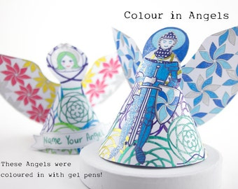 Personalised Party decor Male & female angel ornaments, to color, make and cutout pdf download, with editable name labels