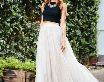 Designer Trade Women's Fashion Bridal Wedding Bridesmaid Ivory Tulle Tutu Full Length Skirt Lined Holiday Custom Made to Order in the USA