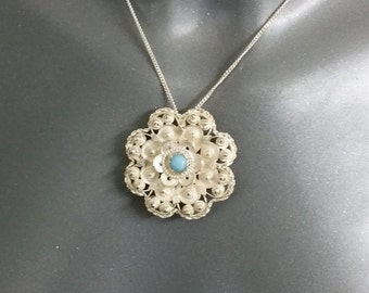 Filigree silver pendant and brooch with Turquoise Silver 800 antique vintage SK401