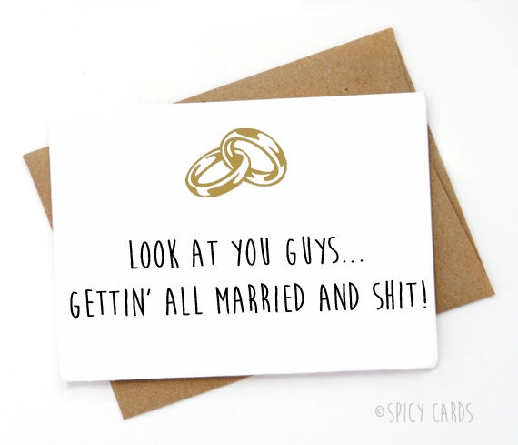 Funny Wedding Card Funny Engagement Card Sarcastic Card