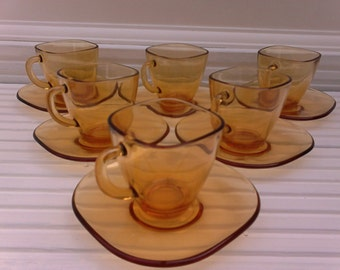 Amber square demi-tasse coffee cups and saucers /French Vereco / Set of 6 / original box