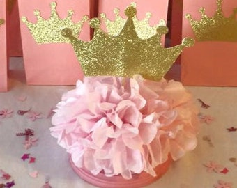 Princess Crown Centerpiece Skewers Pink And Gold