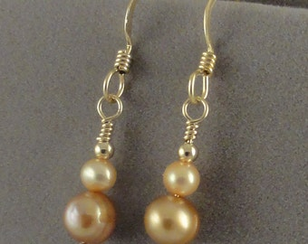 Golden Freshwater Pearl 14 kt Gold Filled Earrings