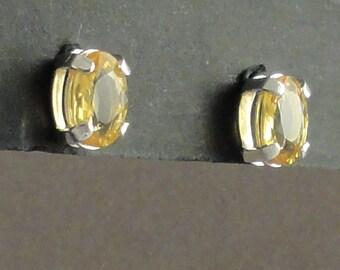 Yellow Sapphire Sterling Silver Earrings