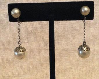 Dangle Pearl Screw Back Earrings, Faux Pearl Earrings, Pearl Dangle Earrings