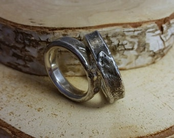 Chunky fused silver ring - mm size