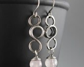 Rose Quartz Earrings - Sterling Silver Earrings - Wire Wrapped Earrings - Gift For Mom - Boho Earrings - Bohemian Earrings - Gift For Wife