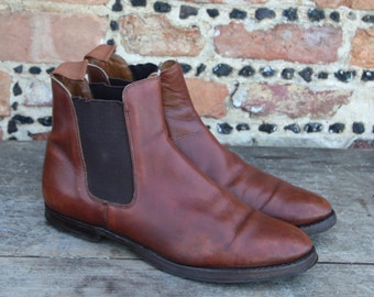 Vintage Ladies Crockett & Jones Tan Brown Leather Gresham Chelsea Ankle Boots Shoes Size 75C UK 5