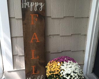 happy fall y'all - happy fall sign - happy fall distressed sign - large porch sign