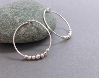 Sterling Silver Small Hoops Silver Hoop Earrings Sterling Silver Hoop Earring Beaded Hoop Earrings Bridesmaids Earrings Everyday Earrings