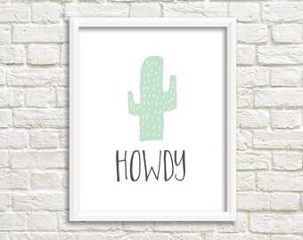 Cactus Wall Art, Southwestern Print, Printable Wall Art, Howdy, Gallery Wall, Printable Wall Decor, Printable, Gallery Wall Printable