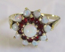 9ct Gold Opal and Garnet Flower Ring Size UK W USA 11 1/8