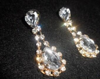 Bridal crystal CZ sparkle earrings Stud clear bright elegant Weddings party jewelry Prom drop dangle koz earrings Gift for woman girlfriend