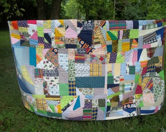 Hand Sewn Patch Work Crazy Quilt Throw