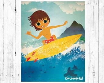 Surfer Wall Art Surf Art Surf wall Decor Beach Art Surfboard Decor Beach Nursery Decor Surfer Illustration gift for kids Surf nursery decor
