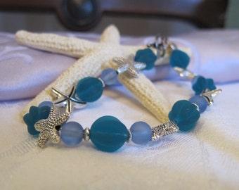 Sea glass and starfish bracelet ~ blue & teal