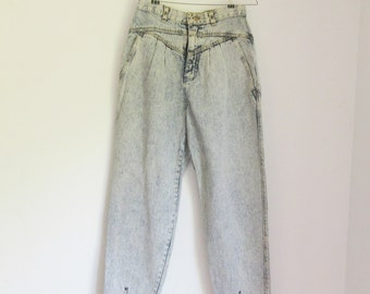 Vintage 80s High-Waisted Acid-Wash Pleated Jeans - Size 9