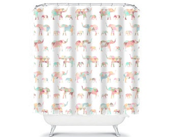 elephant shower curtain elephant bathroom decor elephant decor unique shower curtain abstract shower curtain pink shower curtain white bath