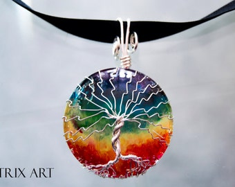 Rainbow Tree of Life pendant - Wire Jewellery