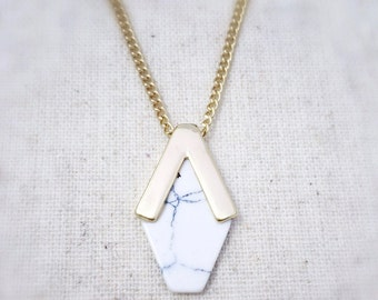 White necklace, white howlite necklace, geometric necklace, gold necklace, dainty necklace, gold necklace, everyday necklace, gift for women