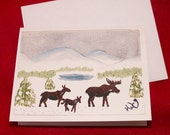 Winter Family Holiday Card//Moose//Christmas//holiday//new year//gift//seasons greetings//correspondence//folk art//original//handmade print