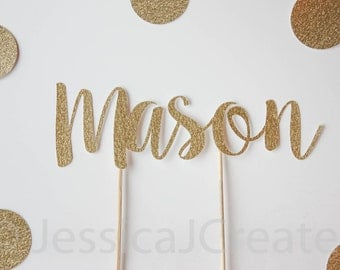 Cake Topper -  Name Cake Topper - Gold Glitter Party Decorations - Personalized Cake Topper - Personalized Party Decor