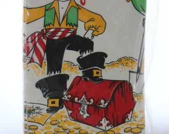 """Pirate Themed Happy Birthday Tablecloth -- Children's Bargain Town / Toys R Us -- Pirates, Treasure, Chest, Paper -- 54"""" x 90"""""""