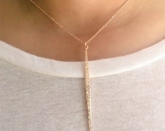 Rose Gold Long Spear Necklace, Pave Crystal Spear necklace