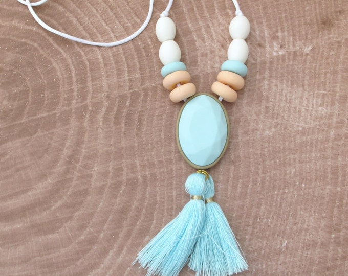 QUEEN TIDE NECKLACE// Little tusk handmade boho aqua, peach and white tassel necklace// Polymer clay jewel pendant tassel necklace// #SN305A
