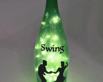 Swing Dance Wine Bottle Lamp / Swing Dancing / Bottle Art