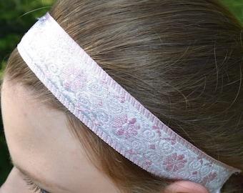 Non-slip Pink & White Tapestry Headband with velveteen backing.