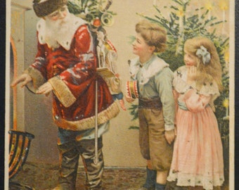 Christmas Postcard  Santa Claus With Children