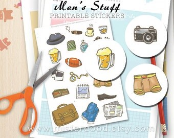 MEN's STUFF Printable Sticker, Gentleman Boys Guys BF Doodle Clipart Handdrawn, Handmade Cute Draw Planner Diary Journal, Instant Download