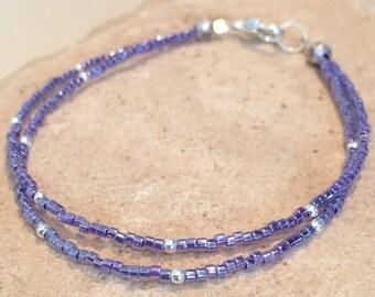 Pretty purple bracelet, Miyuki seed bead bracelet, sterling silver bracelet, dainty bracelet, boho bracelet, small bracelet, gift for her