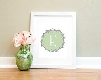Letter E Print, Monogram Letter E Wall Art Printable, Nursery Art, Home Decor Printable Wall Art, Gray and Green Letter Print, Typography