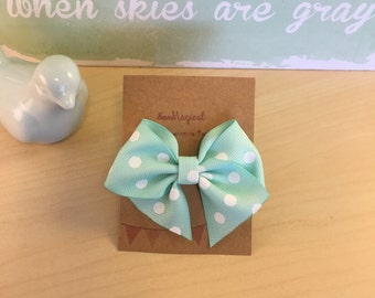 Mint & White Polka Dot Clip in Hair Bow
