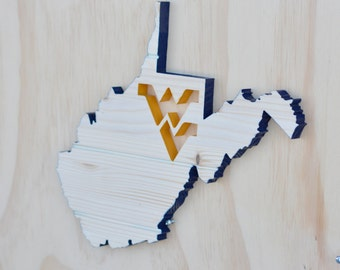 West Virginia Mountaineers State Wood Cutout