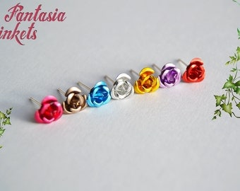 Tiny Rose Stud Earrings - 7 colors - Choose yours!