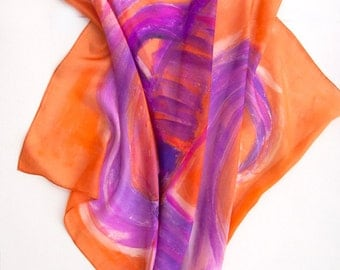 Hand painted silk scarf The Purple Vase. Square scarf painted by hand. Orange lilacs scarf. Abstract painting on silk. Extravagant scarf
