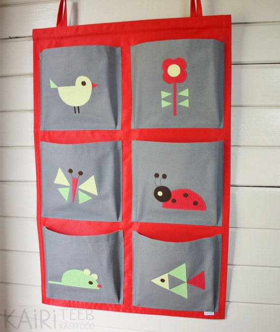 Items similar to wall pocket organizer kids book toy for Fabrics for children s rooms