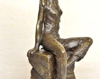 "WAITING - Cast bronze figurative sculpture by Lluis Jorda, 10.4"" height - 3 kg weight"