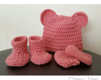 Pure Wool Beanie/Mittens/Bootie Set (Dusty Pink)