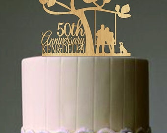 Happy 50 th anniversary cake topper, Wedding Couple in a Swing with Cat or dog, Unique Rustic Wedding Cake Topper, Funny Wedding Cake topper