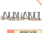 BUY 3 FOR 7 USD, Watercolor alphabet clipart with flowers, digital letters, floral alphabet, black watercolor letters clipart, download