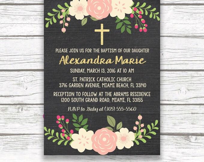 Chalkboard Gold Foil Baptism Christening Invitation, Girl First Communion Peach Ivory Floral Cross Invite, Printed Printable Invitation