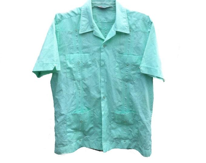 Large Mint Guayabera Romani Dress Shirt